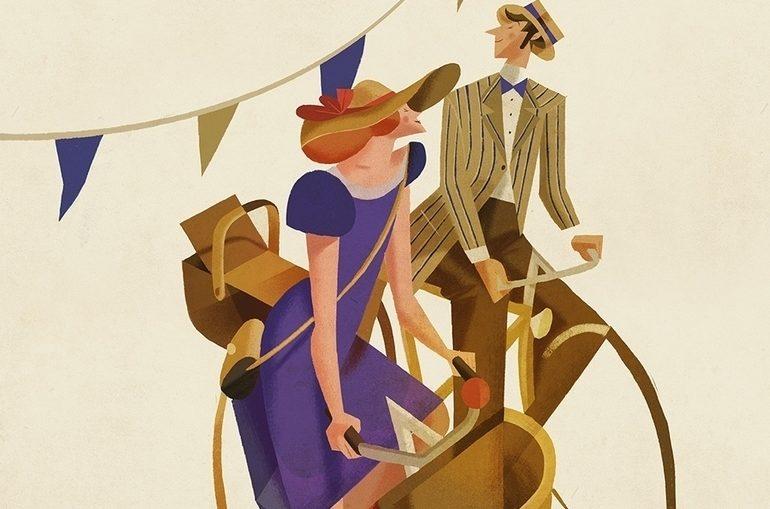 coppia vintage in bici Riccardo Guasco illustratore