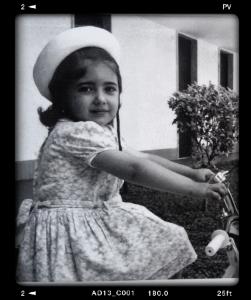 Mariateresa Montaruli, giornalista autrice del blog Ladra di biciclette, a 3 anni sul triciclo