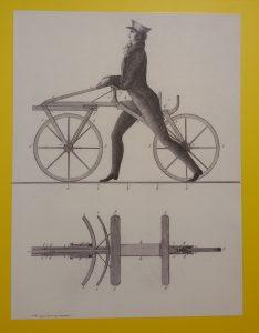 immagine delle draisina: un disegno che rappresenta la prima bicicletta della stroia