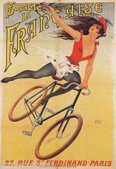 affiche pubblicitaria di donna in bicicletta