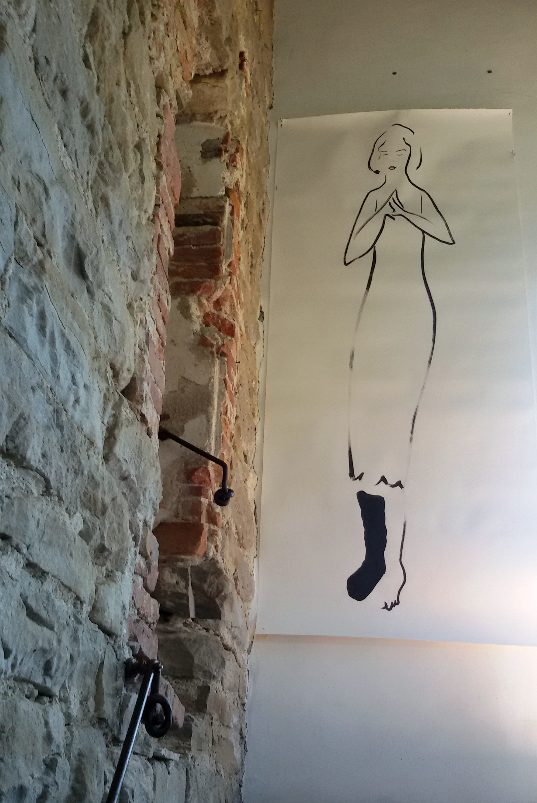 acquarello della polacca Gosia Turzeniecka nelle Torre di Camerana per il progetto Vie del Sale