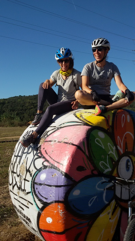balle di fieno dipinte ciclovia Pirinexus di Mariateresa Montaruli