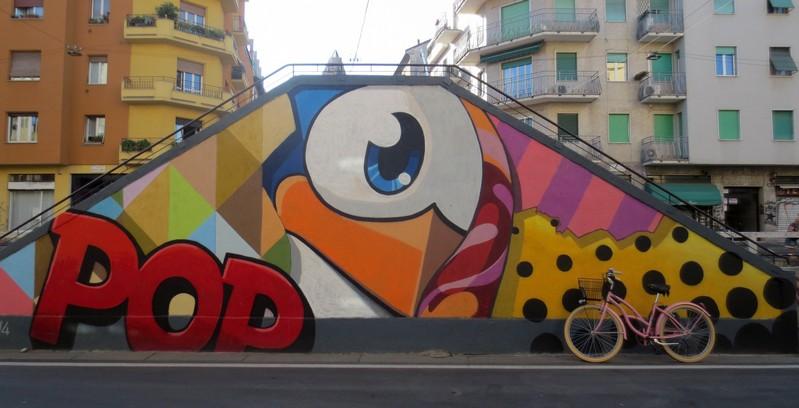 Street art e bici sul Naviglio Pavese a Milano