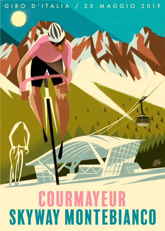 Illustrazione di Riccardo Guasco sul passaggio del Giro d'Italia 2019 a Courmayeur