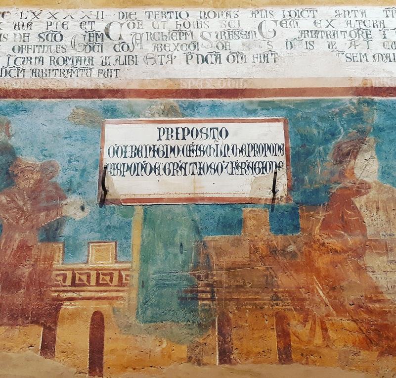 Frammento di affresco medievale nel Municipio di San Gimignano