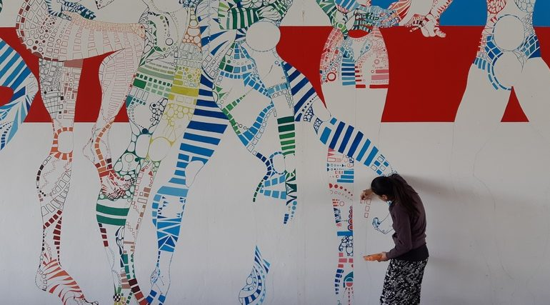murale Ultima Cena per Leonardo 500 di Elisabetta Mastro