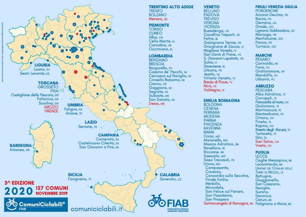 mappa comuni ciclabili 2020 Fiab