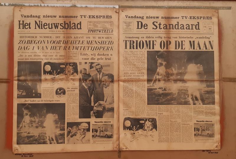 giornali d'epoca: vittoria di Mercks e Sbarco sulla Luna