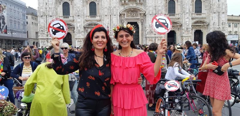 fancy women ride donne in bici milano giornata mondiale senz'auto