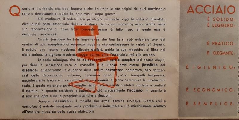 documento d'archivio sulle sedie d'acciaio