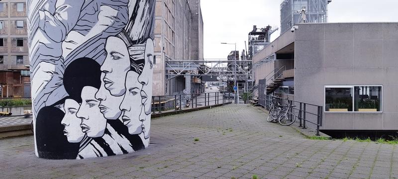 murale e vecchia fabbrica di grano sul porto di Rotterdam