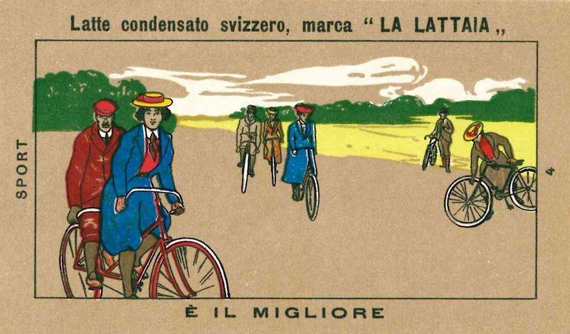 biciclette d'epoca in figurina pubblicitaria