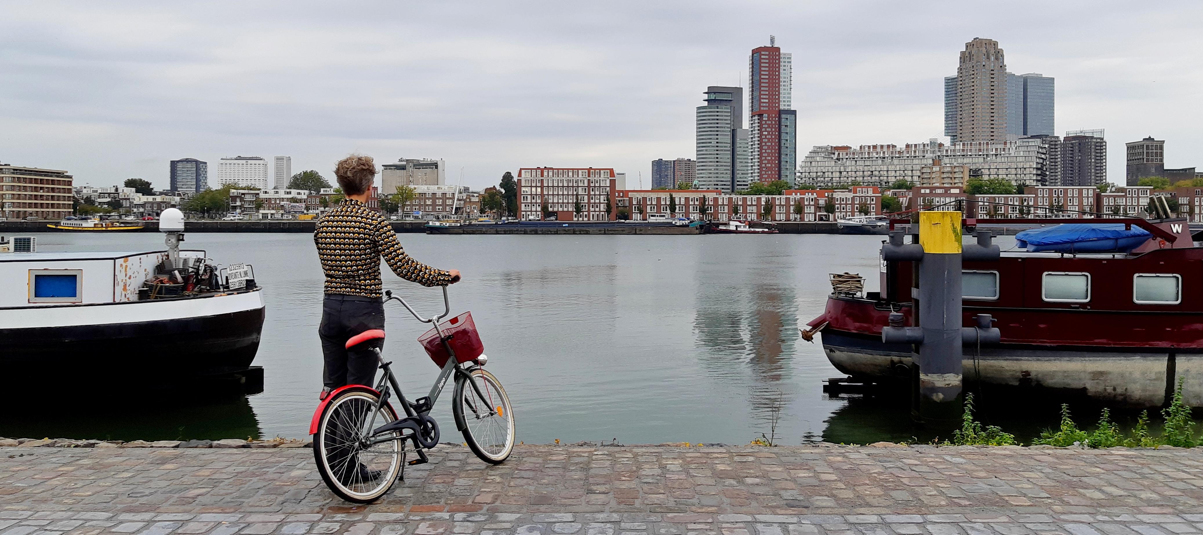 in bici sul porto di Rotterdam