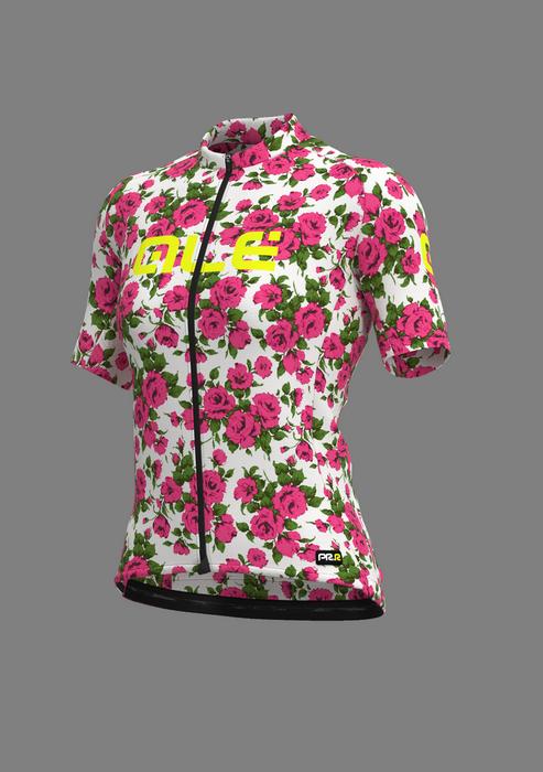 abbigliamento ciclismo da donna maglia con rose alé cycling
