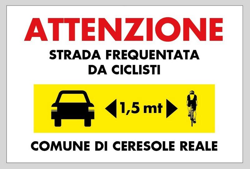 cartello io rispetto il ciclisa, sicurezza in strada