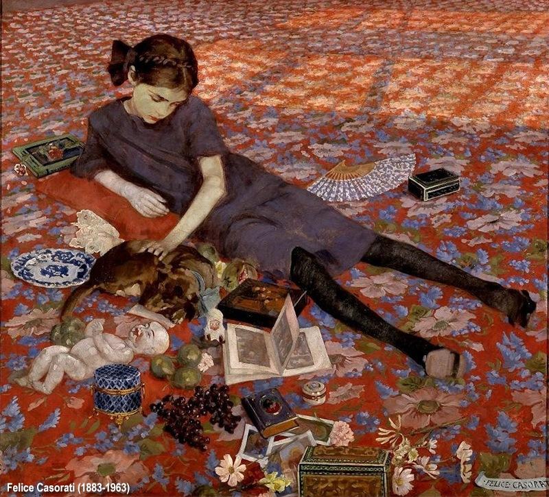 Felice Casorati Bambina che gioca su un tappeto rosso (particolare)