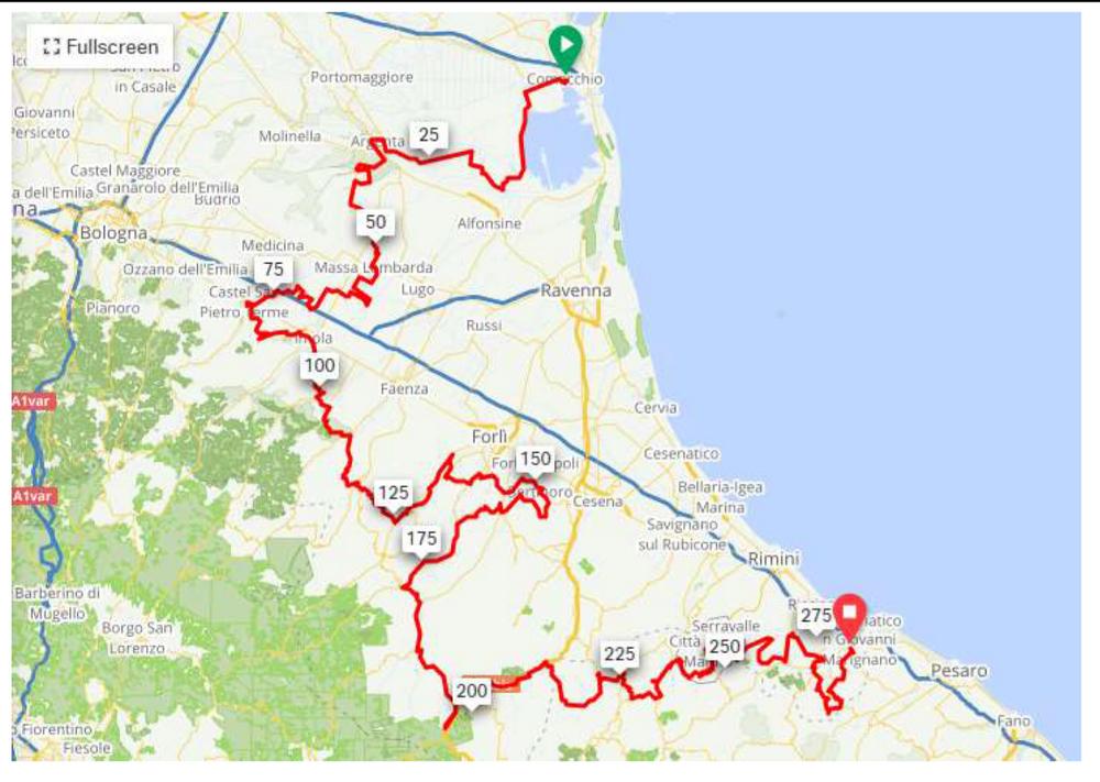 percorsi della Via Romagna in bicicletta