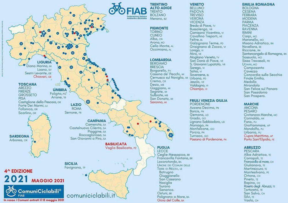 comuni ciclabili FIAB maggio 2021