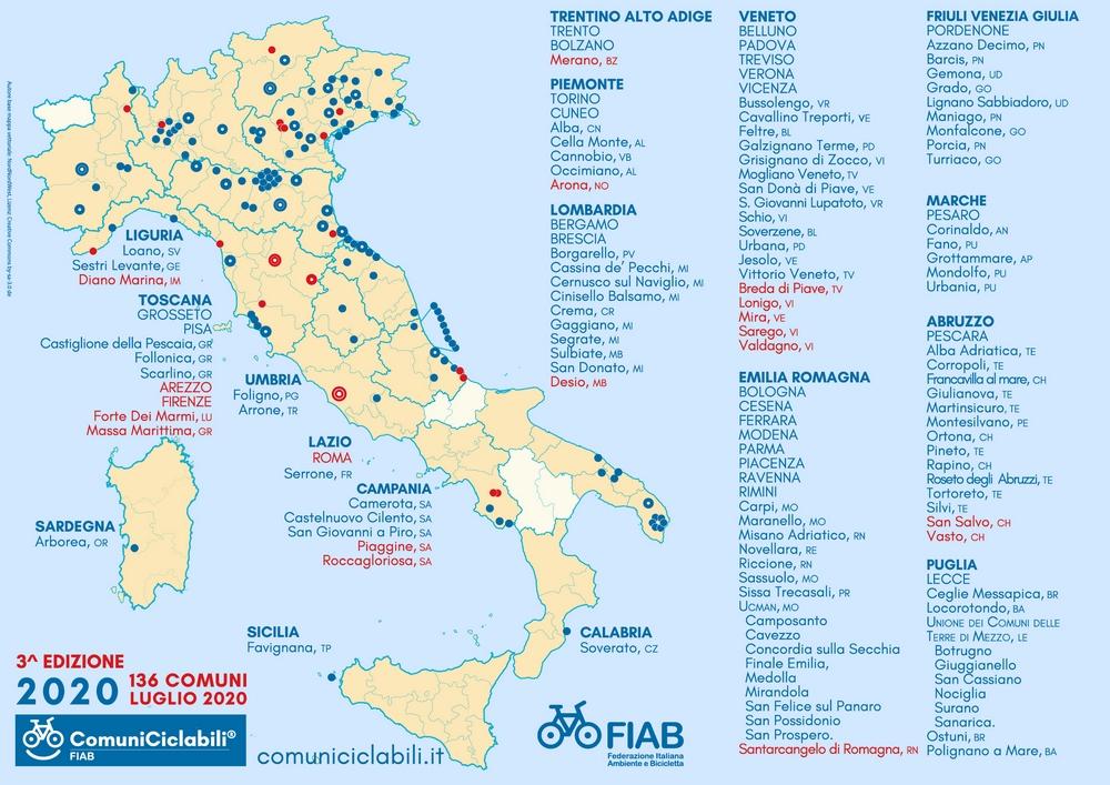 mappa comuni ciclabili fiab 2020